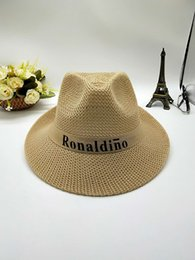 Straw Fedora Beach Hat Australia - Summer custom fedora straw beach hat for women or men with band New fashion Outdoor activities