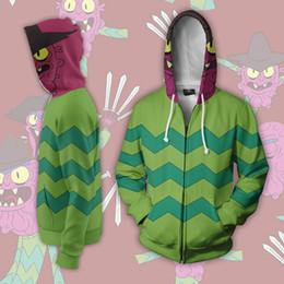 Zipper Animation NZ - Rick and Morty Mens Hooded Jackets 3D Print Zipper Teenager Baseball Jacket Cosplay Animation Around Coats