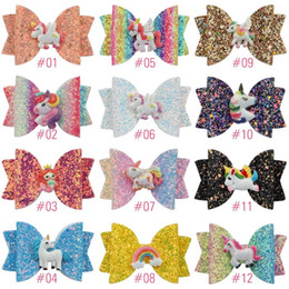 Headbands Bow Australia - Free DHL Newest INS About 3.5inch Kids Girls Hair Barrettes Fruits Unicorn Rainbow Sequins Bows Hair Clippers Mermaid Clips Hair Accessories