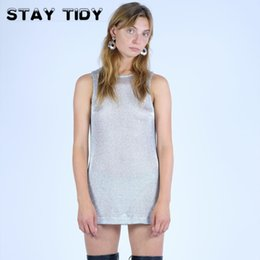 Wholesale Sexy Long Tees Australia - STAY TIDY Sliver Glitter Sparkle Women Long T Shirt 2019 Summer Sexy Sleeveless O-Neck Side Split Perspective Party Club Top Tee