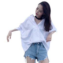 f86467f80b081f Half Sleeve Summer Sexy V-neck White Color Loose Womens Tops And Blouses  Oversize S-XL Female Fashion Blouse Shirt Hot Sale