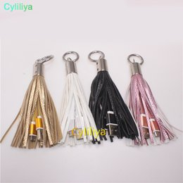 Usb Decorations NZ - Fashion Tassels Charging Data Cable Portable Key Ring Micro USB Short Bag Decoration Chain Sync Quick Charge Cords Line For Samsung HTC