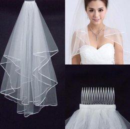 2019 Kadın Düğün Peçe İki Katmanlar 2 T Tül Şerit Kenar Gelin Veils Kısa Beyaz Fildişi Peçe Düğün Aksesuarları için Iyi Kalite indirimde