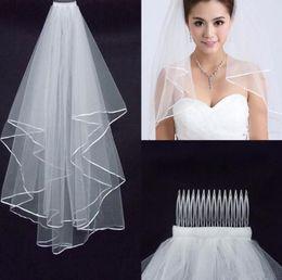 2019 Véu De Casamento Das Mulheres de Duas Camadas 2 T Tule Borda Da Fita Véus De Noiva Branco Curto Véu De Marfim para o Casamento Acessórios de Boa Qualidade mv2 em Promoção