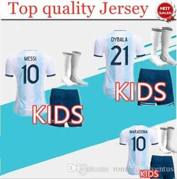 Wholesale 2019 Copa America Argentina Kids Kit Soccer Jersey Home MESSI Child Soccer Shirt DYBALA MARADONA AGUERO HIGUAIN football Uniform