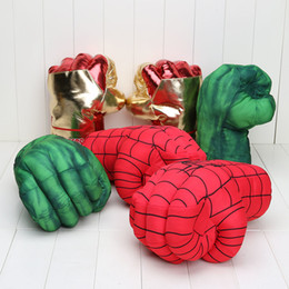 Wholesale Incredible Huge The Avengers Alliance Hulk Gloves Smash Hands new Cosplay Spider Man Soft Plush Glove Approx quot cm J190508