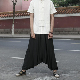 Yoga Pants Men Loose NZ - Men Yoga Pants Wide Leg Harem Loose Linen India Nepal Pants Sweatpants Running Jogging Leisure Casual Fitness Travel