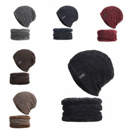 wholesale ski suits NZ - Newest Beanie Men Winter Ski Baggy Hat Neck Ring Suit Knit Velvet Warm Cap FREE SHIPPING