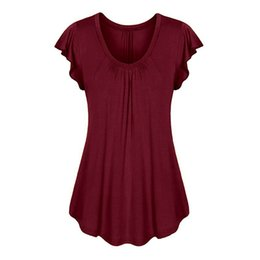 bb46849048c40c Women Plus Size Flare Sleeve Blouses 4XL Summer O-Neck Pleated Tunic Tops  Casual Loose Tee Shirts Female Clothes Vintage
