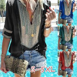 Wholesale women t shirts ethnic online – Summer Popular T Shirts Top Stripe Deep V Mulit Colors Pluse Size Blouses Costume Ethnic Women Home Clothes lq E1