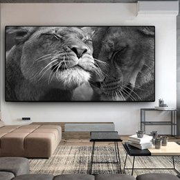 Lion canvas print online shopping - Black and White Africa Lion Wild Animals Canvas Painting Posters and Prints Cuadros Wall Art Pictures For Living Room Home Decor