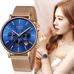 watches roses Australia - LIGE Top Brand Fashion Luxury Rose Gold Blue WristWatch Casual Fashion Women Watches Quartz Clock Gift Watch Woman Montre Femme SH190929
