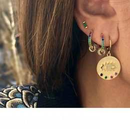 white gold coins NZ - Gold plated round coin drop earring with rainbow cz evil eye engraved fashion women jewelry earrings