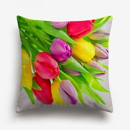 $enCountryForm.capitalKeyWord UK - 3D Effect Red Rose Cushion Cover Beautiful Fresh Roses Floral Cushion Covers Home Sofa Decorative Linen Cotton Pillow Case