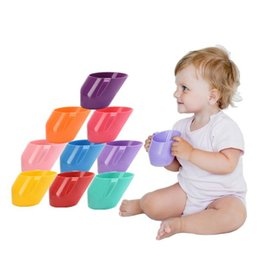 Wholesale 10 Colors Baby Training Cup Kids Feeding Drink Water Cups With Handle Bevel Mouth Safe Leakproof Cup Children Water Bottle GGA2171