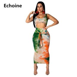 dc4d0a54 Summer 2 Piece Set Colorful Print Crop Top and Skirt Beach Sexy Skirt Set  Sleeveless Tank Top Lace Up Midi Bodycon Outfit