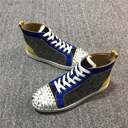 Wholesale High quality designer shoes man women red bottoms Spike Flat No Limit sneakers fashion italy dress shoes size
