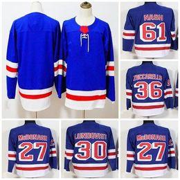 Cheap 2018 New Mens New York Rangers 27 Ryan McDonagh 30 Henrik Lundqvist  36 Mats Zuccarello 61 Rick Nash Blank Blue Ice Hockey Jerseys Sol 7501eade8