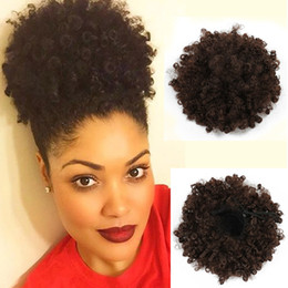 synthetic hair drawstring ponytail NZ - Synthetic Curly Hair Ponytail African American Short Afro Kinky Curly Wrap Synthetic Drawstring Puff Pony tail Hair Extensions