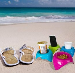 Discount designer phone holder DHL 4pcs set Beach Sand Coasters Vacation Accessories Drink Cup Holders Multifunction Plastic for Beverage Phone Drinks