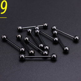 lip piercing wholesale NZ - 100pcs set Black Stainless Steel Tongue Ball Var Body Piercing Jewelry