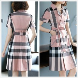New dress british online shopping - New Summer British Trench Style Dress Fashion Double Breasted Sashes Bow Women s Striped Dress Office Business Lady Slim Party Prom Dresses