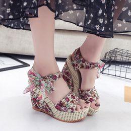$enCountryForm.capitalKeyWord Australia - 2019 Summer Printing Women Sandals Female Thick Female Sandals High Heels Casual Waterproof Platform Wedge Female Shoes 01-03
