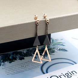 $enCountryForm.capitalKeyWord NZ - Black earrings new steel ball hanging black triangle hollow triangle long earrings Japan and South Korea titanium steel rose gold earrings