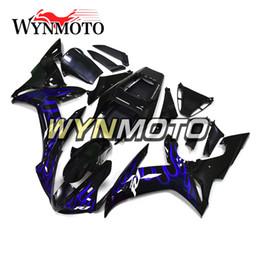 $enCountryForm.capitalKeyWord Australia - Black Blue Flames New Cowling For Yamaha YZF1000 R1 2002 2003 Complete Bike Body Frames R1 02 03 Aftermarket Motorcycle ABS Body Work