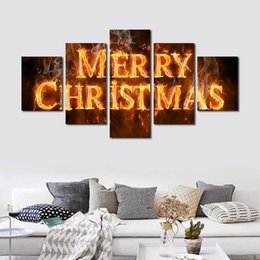 $enCountryForm.capitalKeyWord Australia - 5pcs set Unframed Merry Christmas Word and On Fire HD Print On Canvas Wall Art Painting For Living Room Decor