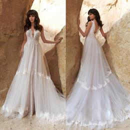 $enCountryForm.capitalKeyWord Australia - Sheer Lace Backless Beach Wedding Dresses Sexy Arabic Plus Size Sleeveless Boho Style Custom Made Bridal Gowns Custom Made