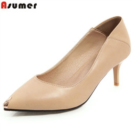 e2a34bc446 ASUMER Big size 34-48 Basic women pumps pointed toe simple sexy high heels  dress shoes solid color nude black white ladies shoes
