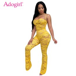 Lace Sheer Jumpsuit Australia - Adogirl Women Sexy Sheer Lace Crochet Jumpsuit Solid 4 Colors Spaghetti Straps Strapless Night Club Romper Without Headband Y19051601