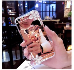Chains For Mirrors Australia - luxury diamond ring Holder mirror cases For iphone xs max xr x 6 7 8 6s plus phone case Flowers With chain Soft Silicone cover
