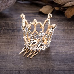 $enCountryForm.capitalKeyWord Australia - Wedding Hair Accessories Gold Color Mini Round Crystal Rhinestone Tiaras and Crowns Pageant Prom Princess Comb Tiara Crown