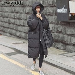 women korean winter parka coat Australia - 2019 Casual Black Plus Size Korean Fashion Female Outwear Thick Warm Parka Oversize Winter Coat Women Retro With Hood A1593 Y190828