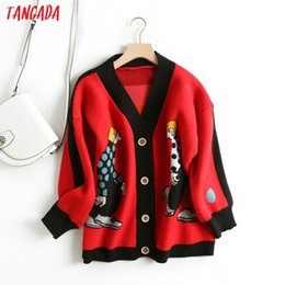 grey cardigan sweater women Canada - Tangada women cute cartoon cardigan sweater long sleeve buttons female thick knit sweaters basic red black grey tops BC21