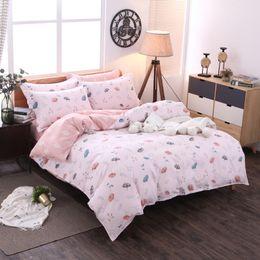 $enCountryForm.capitalKeyWord Australia - Hot sale Printed bedding set 4pcs queen king duvet cover Pink sheet Home Textiles Promotion