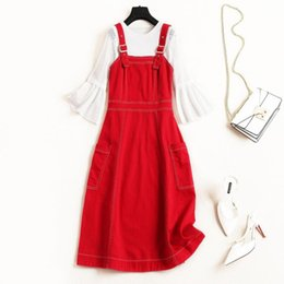 Flared Red Dress Australia - European and American womenswear 2019 summer new style Flared sleeve lace T-shirt Red strappy dress two-piece