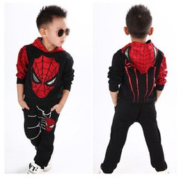 polyester vest pockets for men Canada - Spiderman Children Baby Boys Clothing Set for kids Sport Suit Children Spider Man Costume Kids Hoodie Tracksuit Clothes