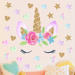 Wall Stickers Romantic Flower Australia - Hot sell Romantic fairy Unicorn Stars Wall Stickers For Girls Bedroom Flowers Wall Decals Decor kids gift