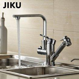 Faucet Kitchen Shower Australia - JIKU Basin Faucets Pull Out Shower Sprayer Deck Mount sink vessel Basin sink faucet Dual Spout for Kitchen Mixer Taps