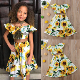 Cute Casual spring outfits online shopping - Summer Floral Off Shoulder Crop Tops Skirt Cotton Casual Outfits Girl Clothing Cute T Toddler Kids Baby Girls Clothes Set