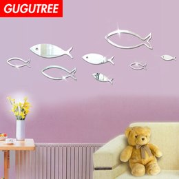 $enCountryForm.capitalKeyWord Australia - Decorate Home 3D fish cartoon mirror art wall sticker decoration Decals mural painting Removable Decor Wallpaper G-331
