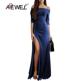 $enCountryForm.capitalKeyWord Australia - Adewel Sexy Glitter Off Shoulder Party Long Dress Women Formal Glittering Long Sleeve Bodycon Maxi Dress Evening Gowns Dresses