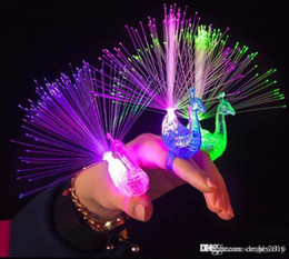 fiber optic light toy NZ - 3 color LED Flashing Peacock Fiber Optic Finger Lights Rings for Raves or Party Favor free shipping