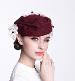red felt hats wholesale NZ - Ladies autumn and winter caps bride warm wool hat fedora felt hat elegant banquet women small hat hot gifts