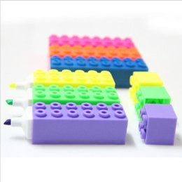 fluorescent toys wholesale 2019 - Children's graffiti toy building blocks highlighter Square block shape can be assembled with fluorescent ballpoint