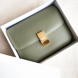 $enCountryForm.capitalKeyWord Australia - Elegant2019 Color New Cream Bean Curd Hand Rub Grain Cowhide Box Small Square Package Vegetation Green Single Shoulder Satchel Woman