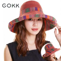 8d0e50c3b192b COKK Summer Hats For Women Large Wide Brim Cloth Sun Hat Fisherman Bucket  Hat Female Foldable Sunshade Boho With Windproof Rope